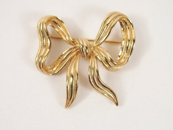Monet Ribbon Bow 60s 70s Brooch Vintage Jewelry