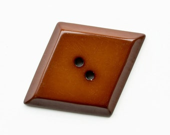 Art Deco Chocolate Brown,Chunky Large Early Plastic Button, Diamond Lozenge Shape