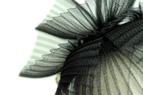 Black Cocktail Hat Fan Dance Millinery Fascinator