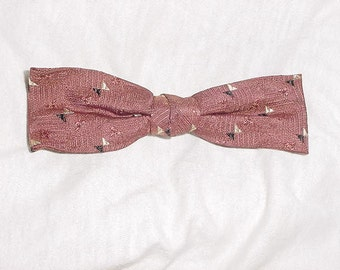 Vintage 50s Narrow Maroon Rayon Two Tone Bowtie Clip On