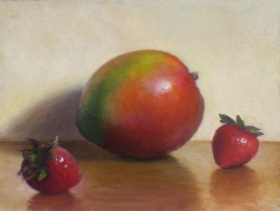 Original Oil Painting, Mango and Strawberries