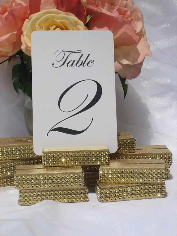 Gold Wood Table Number Holders trimmed with a crystal wrap- Set of 10