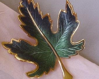 Vintage Enamel Leaf Pin Brooch