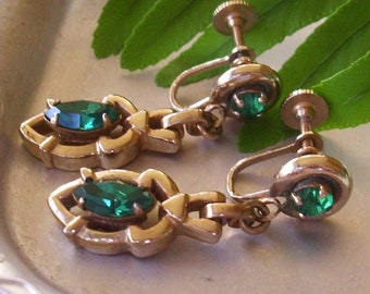 Vintage Green Glass Barclay Earrings