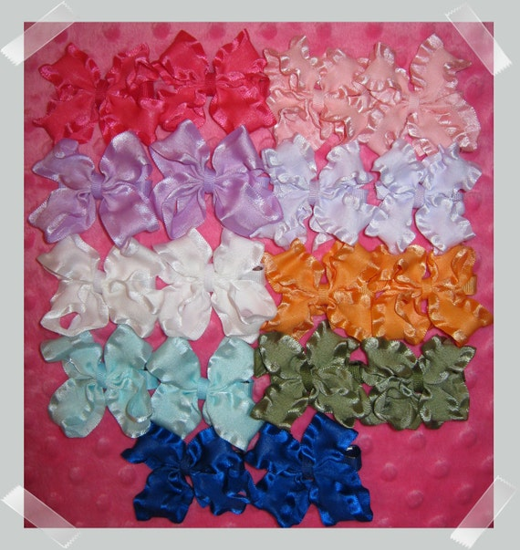 CLEARANCE SALE Lot of 18 Baby Double Ruffle Hair Bows Pigtail Sets -75% OFF