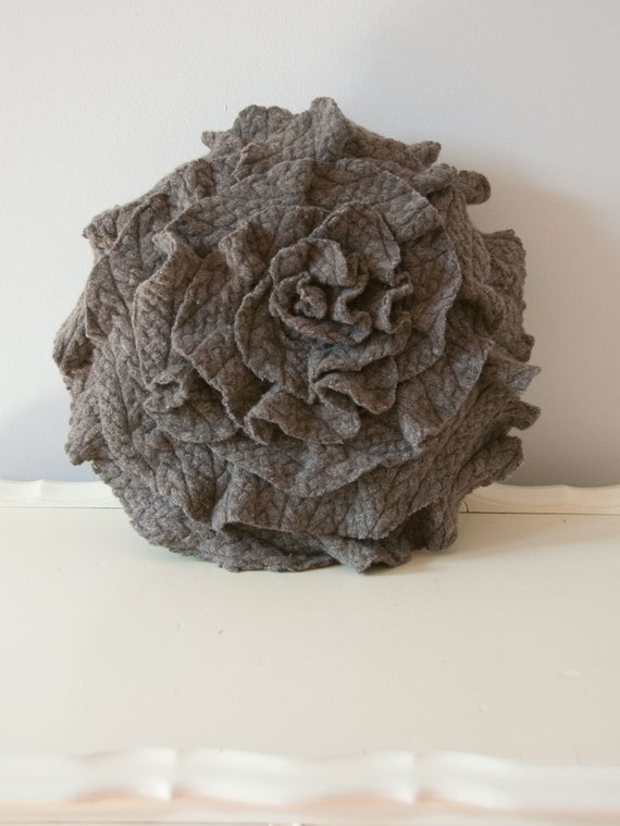 "Merino Ruffle Rose Pillow in Textured Taupe. Eco friendly recycled materials. 16"" medium"