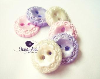 Timeless Pastels  (set of 6 handmade buttons)