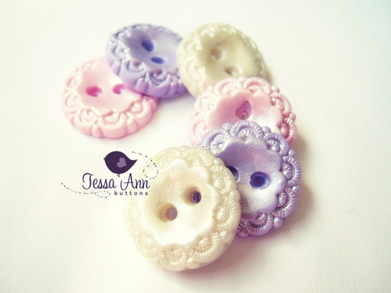 Timeless Pastels  (set of 6 handmade buttons)