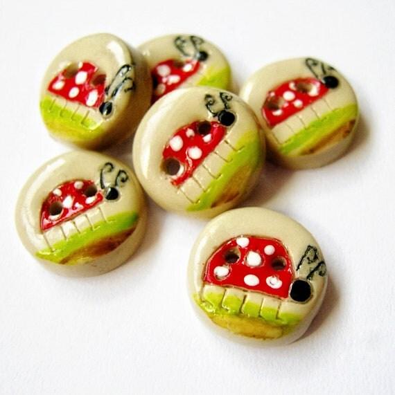 Little Lady Bugs  (set of 4 handmade buttons)