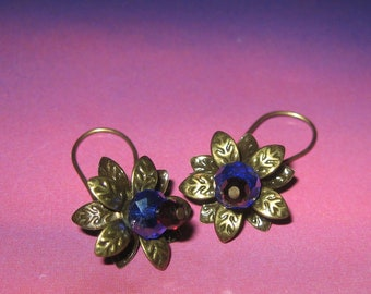 ON SALE Brass And Crystal Flower Earrings