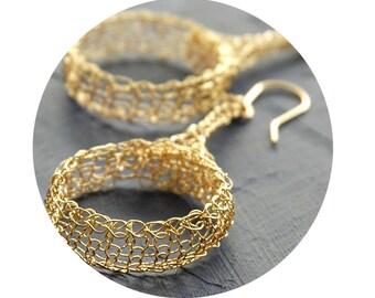 Tribal design earrings Wire crocheted large dangle hoop earrings Gold unique handmade jewelry