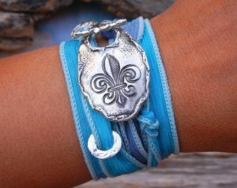 Fleur de Lis Jewelry, Fleur de lis Bracelet, STERLING Silver Bracelet, Fleur de Lis Silk Ribbon Wrap Bracelet, Silver Silk Wrap Bracelet