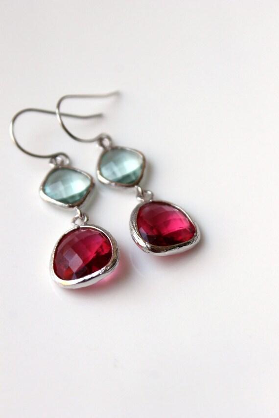 New - Pink, Pale Aqua, Cherry, Sparkle, Silver Finish, Elegant, Dangle Earrings, Wedding, Framed Glass