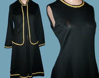 Vintage 70s Black Dress Jacket Set S