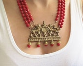Bib Necklace Chunky Red Glass Bead Multistrand Necklace Statement Necklace Game of Thrones Inspired Handmade Jewelry