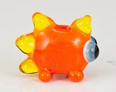 Orange Yellow Glow Dinosaur Lampwork Glass Bead - Dinos for Diabetes