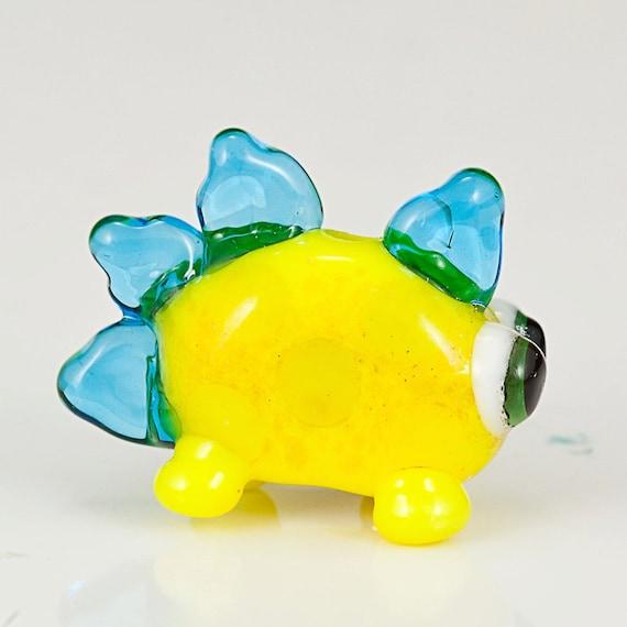 Yellow Glow Dinosaur Lampwork Glass Bead - Dinos for Diabetes