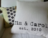 Wedding Gift Personalized Pillow Custom Anniversary Gift...Choose Your Text Color...Modern Design...Pillow Insert Sold Separately