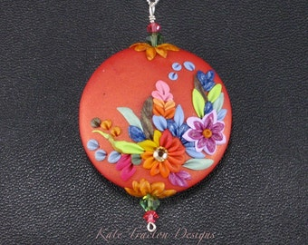 Tropical Sunset Necklace, Polymer Clay