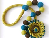 Olive teal brown necklace with flower - crochet and felted wool - handmade Birthday summer autumn gift for her hostess Thanksgiving