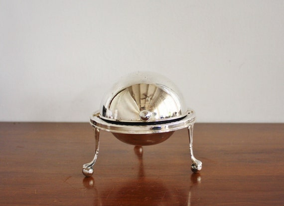 Silver domed butter holder, made in England