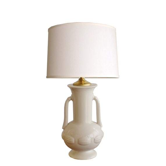 1930s Vintage Petite White Ceramic Table Lamp By