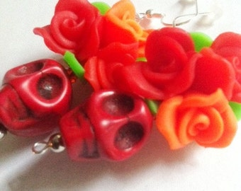 Rockabilly Day of the Dead Red and Orange Sugar Skull Earrings