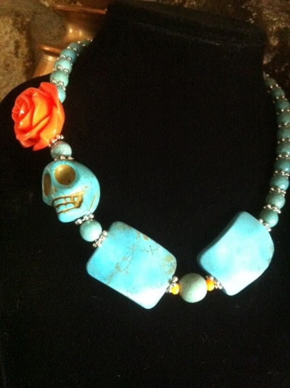 Day of the Dead Big Daddy Statement Turquoise Sugar Skull Necklace - Every Design Tells A Story
