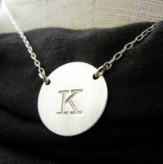 Initial Necklace, Two Linked Chain Hand Stamped Personalized Letter Necklace, Custom - KIERSTEN Sterling Silver