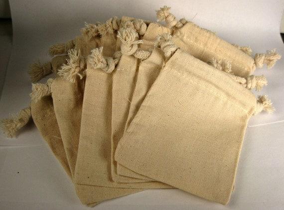 Muslin Bags, 3x4 inch bags, natural cotton color, 12 bags, dozen bags