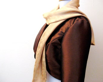 Dressy Brown Taffeta Bolero Jacket for Her, Bolero Jacket, Brown Taffeta Bolero Jacket for Women, Christmas Bolero Jacket