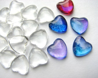 50 TINY Clear 12mm Glass HEARTS  Domes Cabochons Cabs