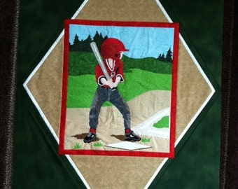 Baseball Player Quilt Top Lap Size