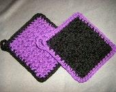 Purple and Black Bumpy Cotton Washcloths Dishcloths