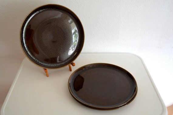 Russel Wright American Modern Black Chutney Dinner Plates (Set of Three)