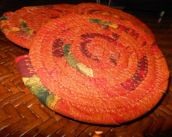 Coasters, trivet, centerpiece, hot pad, for plants, for candles, Coiled Baskets and Mats - Set of 4