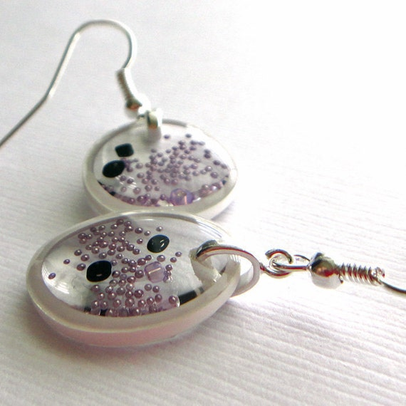 arctic frost amoeba , resin earrings, soft lavender , scientific earrings, organism earrings