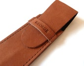 Leather Pen Case, Distressed Brown (2 pens)