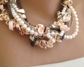 Handmade sea shell necklace with Freshwater pearls and  copper chain