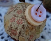 Mini Rustic Pin Keep, Handmade Pincushion, Vintage Sewing Notion, Primitive, Rusty Bottlecap, Rustic, Calico, Pink Peach Buttons