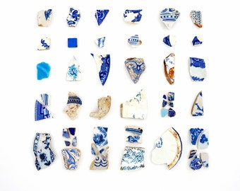 Blue & White Beach China - 8 x 8 Beachcombing Photograph