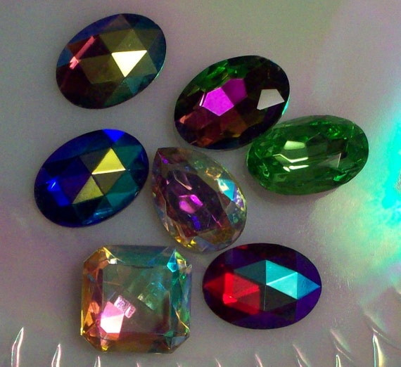 Mix of 6 Different Colors Vintage 25x18mm oval jewels Vitrail Ruby ab Sapphire AB Crystal AB Amethyst AB Peridot