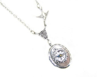 Silver Locket Necklace Silver Compass  Never Lost  Jewelry