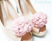 Satin Ruffle Flower shoe clips in Light Pink