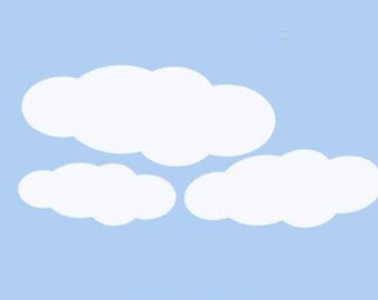 Cloud Vinyl Wall Decal Sticker Graphics for baby Nursery decoration, Childrens room, office or smooth ceiling