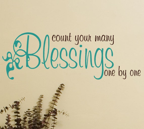 Vinyl Decals, Count Your Many Blessing One by One Wall Decor Decal, Living Room Decor, Wall word quotes, wall decals