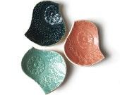 Ceramic Bird Bowl Trio - Coral Pink Seafoam Turquoise Teal Pottery bowls Decorative Texture Wedding Decor Bowls Three bridesmaids gifts