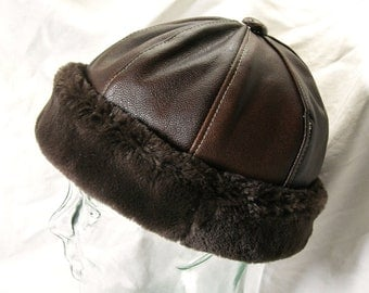 Leather Beanie in Brown with Faux Fur Brim, Mens Style