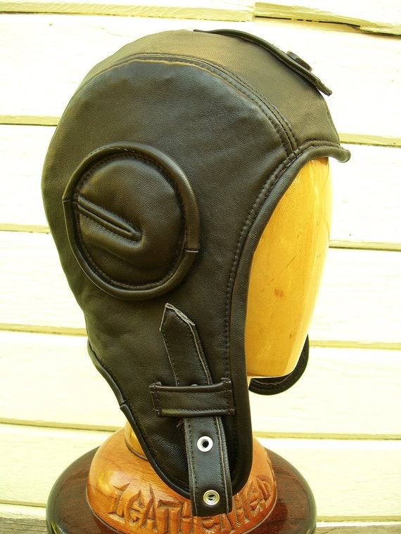 Retro Aviator Hat in Dark Brown Lamb Leather