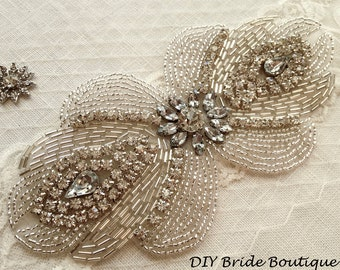 Rhinestone applique, ART DECO couture crystal applique, wedding applique,  beaded patch for DIY wedding sash, bridal accessories